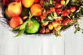 Autumn fruits photo of white basket with Stock Images