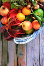 Autumn fruits photo of white basket with Stock Photography