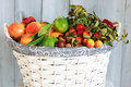 Autumn fruits photo of white basket with Stock Photos