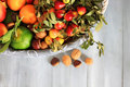 Autumn fruits photo of white basket with Royalty Free Stock Image