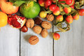 Autumn fruits photo of on wooden background Stock Photo
