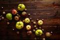 Autumn fruits on wooden table