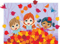 Autumn fun in a pile of leaves three mixed race kids playing colorful fall Stock Photography