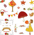 Autumn garden hand drawn clip art floral borders banners leaves perfect for scrapbook and decorations Stock Image