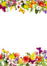Autumn garden: yellow leaves, flowers. Floral seamless pattern. Watercolor Royalty Free Stock Photo