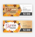 Autumn gift voucher certificate template Royalty Free Stock Photo