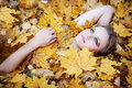 Autumn girl beautiful in the forest Stock Photos