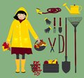 Autumn girl with gardening instruments. Vector Royalty Free Stock Photo