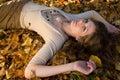 Autumn girl leaves Στοκ Εικόνες