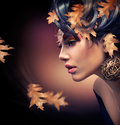 Autumn Girl Makeup Stock Photography