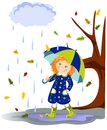 Autumn girl with red hair umbrella in the rain Royalty Free Stock Photos