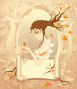 Autumn girl with a scroll on grunge background Royalty Free Stock Photo