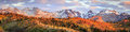 Autumn golden panorama in the Wasatch Mountains. Royalty Free Stock Photo