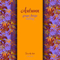 Autumn grape with orange leaves background vertical border wedding design wild red strip card text place vector illustration Stock Photography