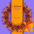 Autumn grape with orange leaves circle and border wedding design wreath of wild red vertical strip card text place vector Stock Images