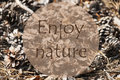 Autumn Greeting Card, Quote Enjoy Nature Royalty Free Stock Photo