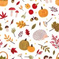 Autumn hand drawn vector seamless pattern. Fall season items background. Forest dried leaves, pumpkins, berries