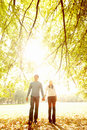 Autumn - Happy young couple walking together Stock Photo