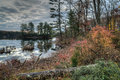 Autumn harriman state park new york state in by the lake at sunrise Royalty Free Stock Image