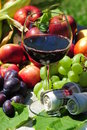 Autumn harvest: seasonal fruits and red wine Stock Photography