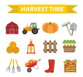 Autumn harvest time icons set flat cartoon style. Harvesting collection of elements design. Farm, thanksgiving day
