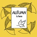 Autumn is here. Umbrellas. Doodle. Frame, space for text