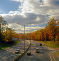 Autumn highway. Royalty Free Stock Photos