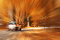 Autumn highway travel cars blur Royalty Free Stock Photo