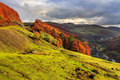 Autumn hillside with pine and colorful foliage aspen trees near mountain landscape green valley Stock Photography