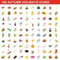 100 autumn holidays cons set, isometric 3d style
