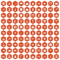 100 autumn holidays icons hexagon orange