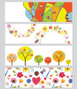 Autumn horizontal banners set funny design Royalty Free Stock Photos