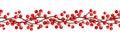 Autumn horizontal seamless garland with rowan berries. Vector illustration.