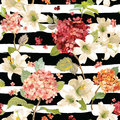 Autumn Hortensia and Lily Flowers Backgrounds. Seamless Floral Shabby Chic Pattern