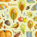 Autumn icon and objects pattern set Royalty Free Stock Photo