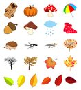 Autumn icon set. Cartoon fall symbols collection isolated on white background. Autumnal illustration elements for october vector Royalty Free Stock Photo