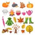 Autumn icon set. Various symbols of autumn Royalty Free Stock Photo