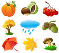 Autumn icons Stock Image
