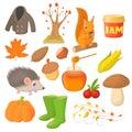 Autumn icons set in cartoon style