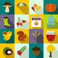 Autumn icons set, flat style