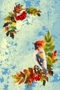Autumn illustration with bird