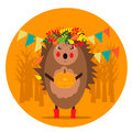 Autumn illustration with funny hedgehog in a wreath on the head and pumpkin in the hand Royalty Free Stock Photo