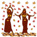 Autumn illustration of two dancing women, on a background of aut
