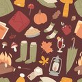 Autumn items seamless pattern texture vector illustration with rubber boots, plaid, lantern with autumnal leaves, socks