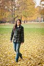 Autumn joy - young woman outdoor Stock Photo