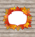 Autumn label with leaves maple wooden texture illustration Royalty Free Stock Photography