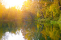 Autumn lake calm water of Stock Photo