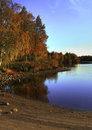 Autumn lake scenery Stock Photo