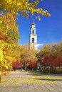 Autumn Landscape with a bell tower Royalty Free Stock Photo