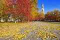 Autumn Landscape with a bell tower Stock Photo